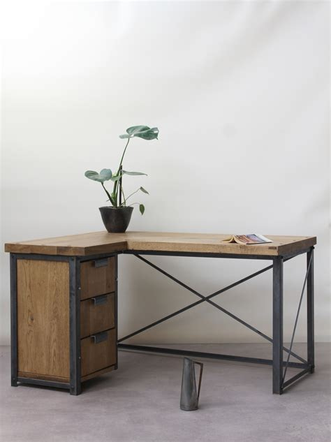 industrial style desk with drawers classic industrial corner desk konk handmade