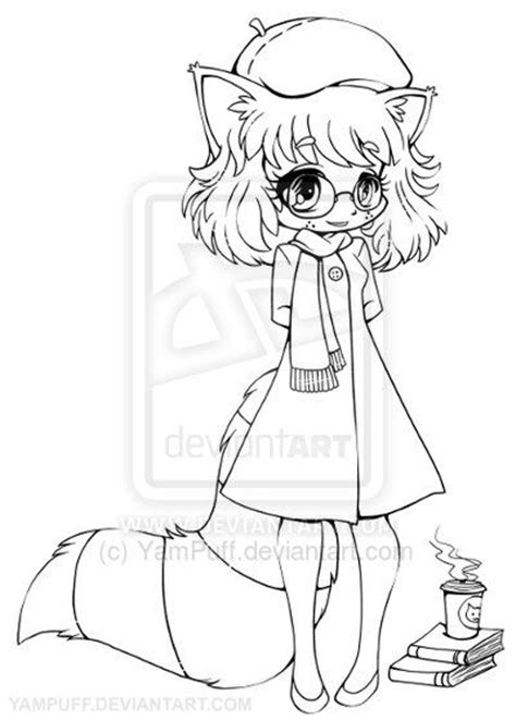 yams coloring page anime raccoon girl raccoon girl chibi lineart by yampuff