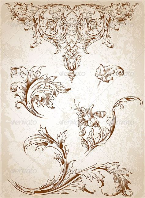 victorian design tattoo vintage floral elements vintage images