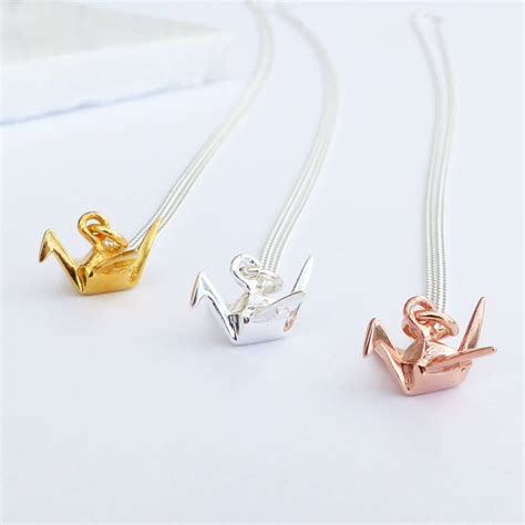 Origami Crane Chain - sterling silver origami crane necklace by evy designs
