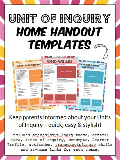 snip snap scraps unit of inquiry home handout templates tpt