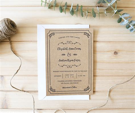 diy printable wedding invitation templates whimsical rustic diy wedding invitation set
