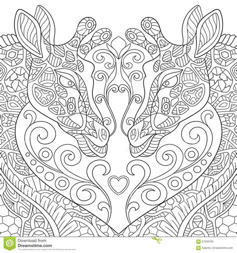 difficult giraffe coloring pages zentangle stylized two lovely giraffes with a heart stock