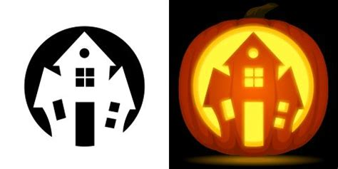 haunted house pumpkin carving stencil   pattern