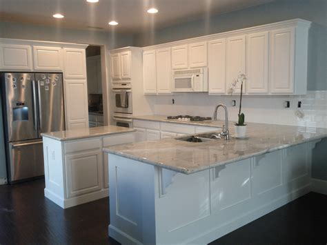 Dove White Kitchen Cabinets My New Kitchen River White Granite Benjamin White Dove Paint Subway Tile Back Splash