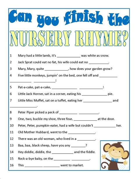 Unique Nursery Rhyme Related Items Baby Shower Can You Finish The Nursery Rhyme Pregnancy Nurseries Baby