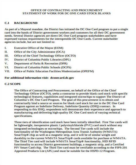 procurement statement of work template 36 statement exles templates in pdf