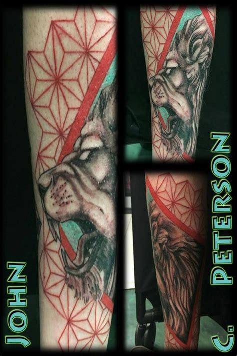 geometric realism tattoo geometric realistic lion by john c peterson tattoonow