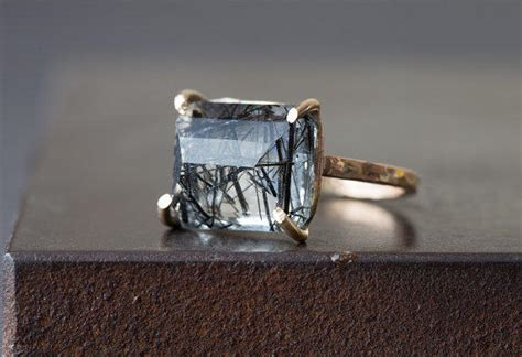 emerald cut tourmaline in quartz ring from lexluxe on etsy