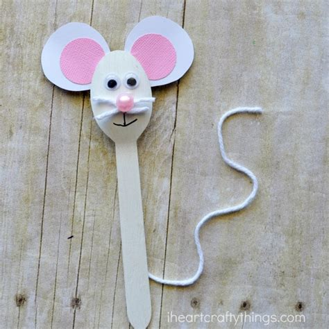Mouse Paper Craft - wooden spoon mouse craft for i crafty things