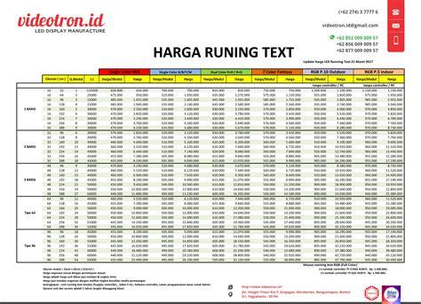 Harga Running harga running text dan cara pembuatannya videotron indoneisa
