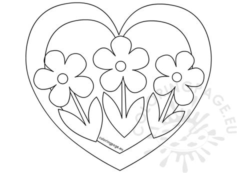 coloring pages flowers hearts heart with three flowers coloring page coloring page