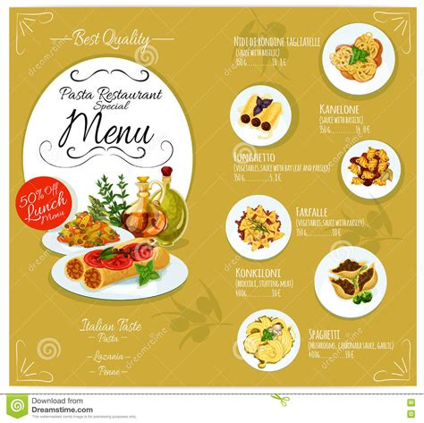 italian dinner menu card template pasta menu card template stock vector image of cuisine