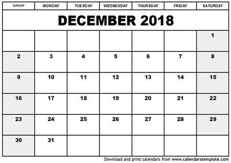 Printable Calendar For December 2018 | december 2018 calendar template