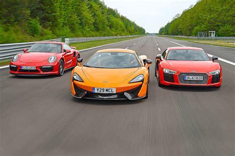 audi r8 vs porsche 911 turbo audi r8 v10 plus vs mclaren 570s vs porsche 911 turbo s