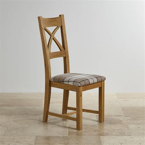 Solid Oak Dining Chair Cross Back Dining Chair In Oak Brown Check Fabric Seat