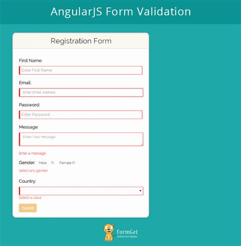 email pattern validation angularjs angularjs form validation formget
