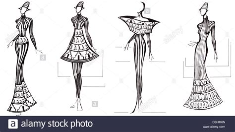 Sketch Model Architecture Sketch Of Fashion Model Design Of Dresses Based On