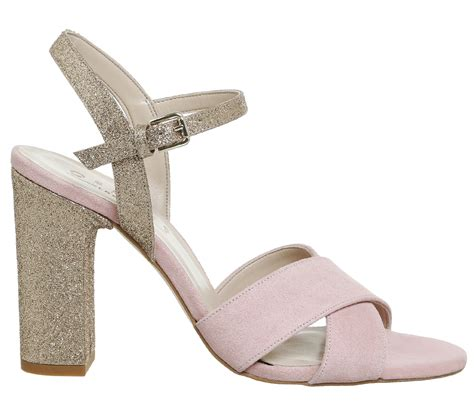 High Heels Gliter Silver Lj 05 Murah office hazel two part sandals pink suede silver glitter
