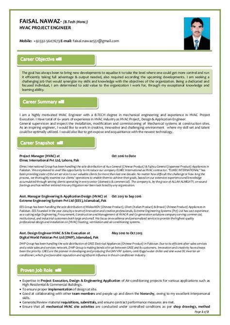 hvac project engineer resume format faisal nawaz hvac project engineer resume
