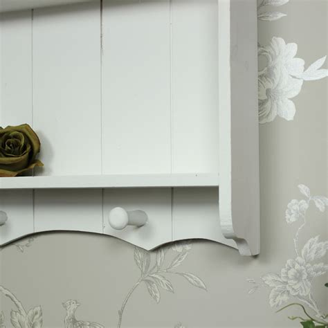 Bathroom Shelves With Hooks White Wooden Shelf Unit With Hooks Shabby Vintage Chic Kitchen Bathroom Bedroom Ebay