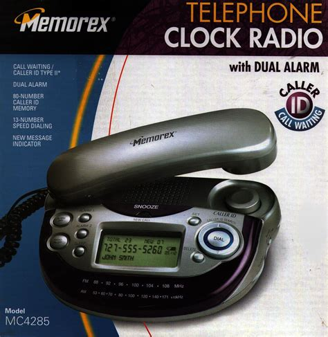 Bedroom Cordless Phone With Alarm Clock Memorex Bedside Office Caller Id Telephone Dual Alarm