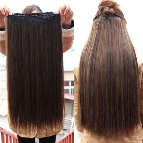 synthetic hair extensions clip in 4colors clip in hair extensions one 24inches