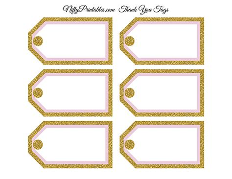gold tags blank favor tags pink gold glitter nifty printables