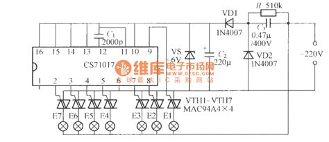 an integrated circuit that can be programmed to perform a wide variety of tasks is called a seven way light string circuit cs71017 led and light circuit circuit diagram