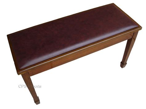 bench piano genuine leather walnut concert grand duet piano bench w