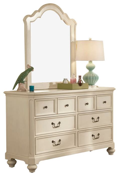White Vertical Dresser Lea Retreat White 6 Drawer Dresser With Vertical Mirror In