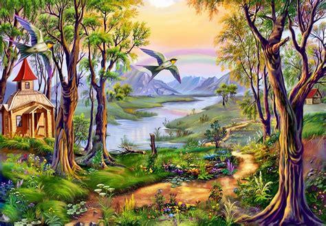 wallpaper lukisan cantik لوحات فنية مبهرة للطبيعة روعة الفن ورسومات الطبيعة