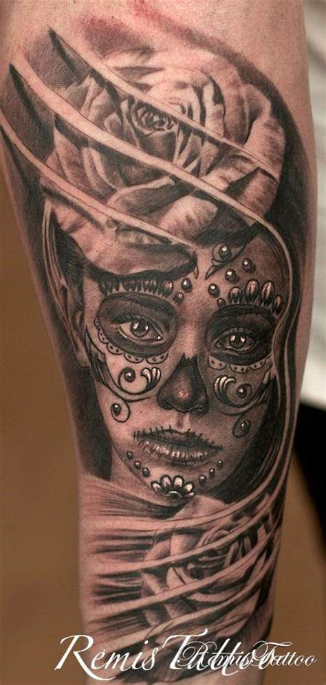 day of the dead face tattoos remistattoo gallery gallery black and
