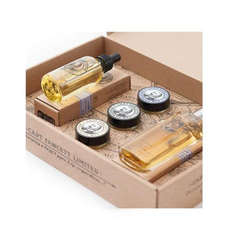 Set Mousthace captain fawcett gift set in stock the beard shed