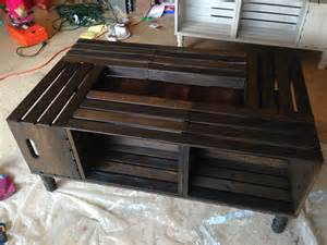 wood crate coffee table wood stained wine crate coffee table by nottooshabbyhome