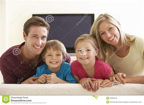 family widescreen tv at home stock photo image