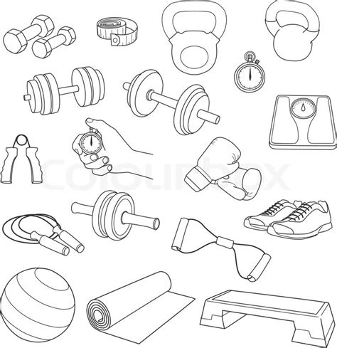doodle drawing exercises set of fitness accessories dumbbells exercise
