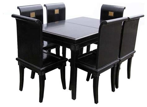 handmade black lacquer dinning table set 8