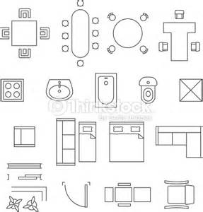 Chair Symbol Floor Plan Furniture Linear Vector Symbols Floor Plan Icons Set