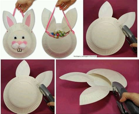 Paper Plate Easter Basket Craft - easter bunny paper plate basket ideas