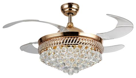 Ceiling Fan Retractable Blades led ceiling fan with crystal shade contemporary