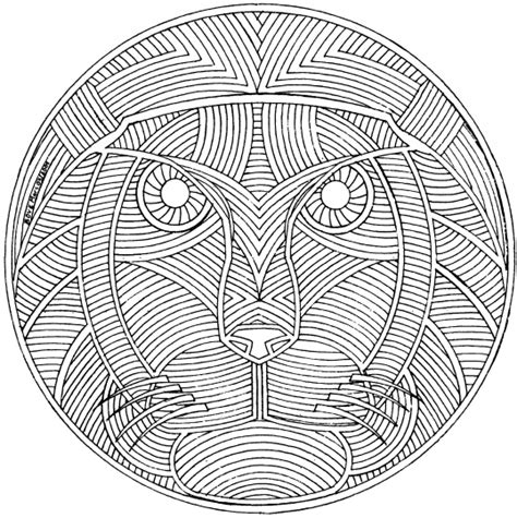 free coloring pages of lion mandala
