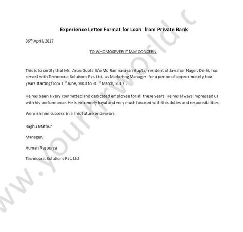 bank certification letter template experience certificate letter format for loan from