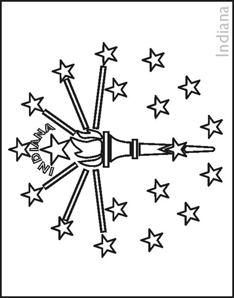 indiana state flag coloring pages usa for kids