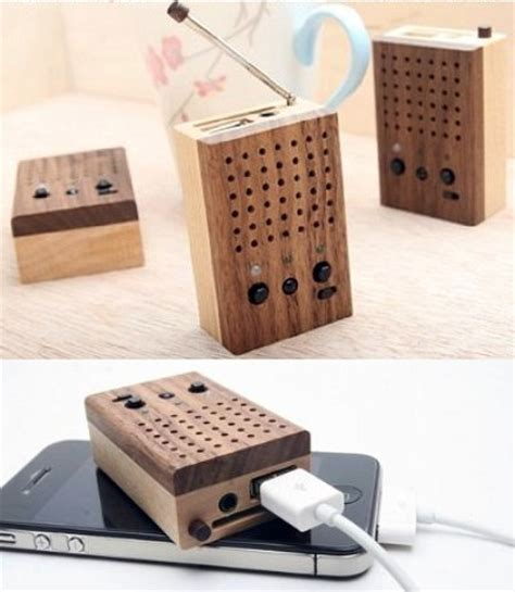Handcrafted Radio - wooden mini speaker with audio player and radio