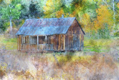 rustic cabin among nevada fall aspen trees in