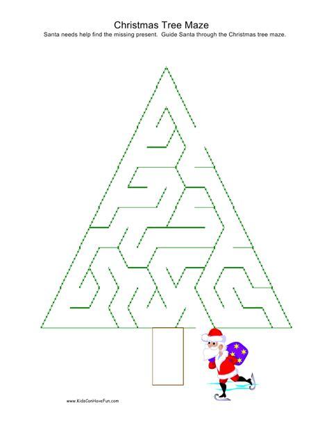 printable christmas tree maze christmas mazes