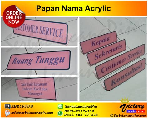 Acrylic Nama bikin acrylic desk name jual door sign 0812 383 17368