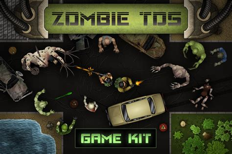 zombie top  shooter game kit   game assets gui