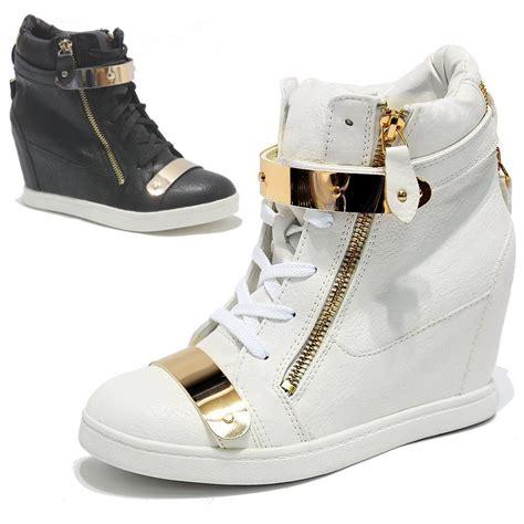 velcro wedge sneakers womens gold metal plate velcro dual zip wedge heels